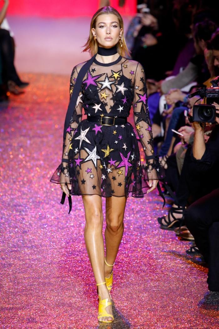 Elie Saab Spring 2017: Hailey Baldwin walks the runway in star-print appliqué minidress