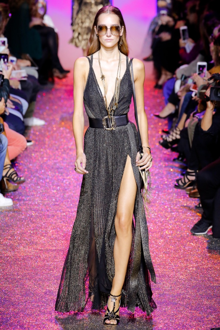 Elie Saab Spring 2017: Josephine Le Tutour walks the runway in sparkling dress with plunging neckline and slit