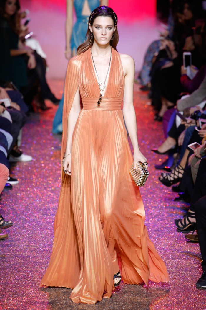Elie Saab Spring 2017: Leila Goldkuhl walks the runway in pleated gown with draped detail