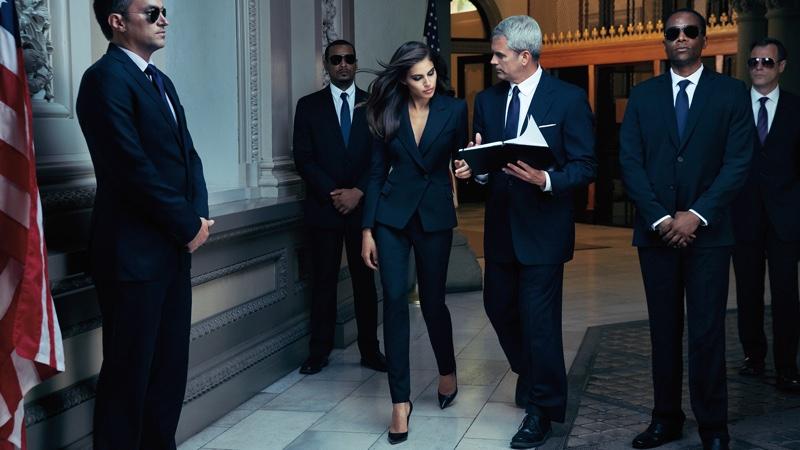 Shlomit Malka takes on power dressing in a black Elie Tahari suit