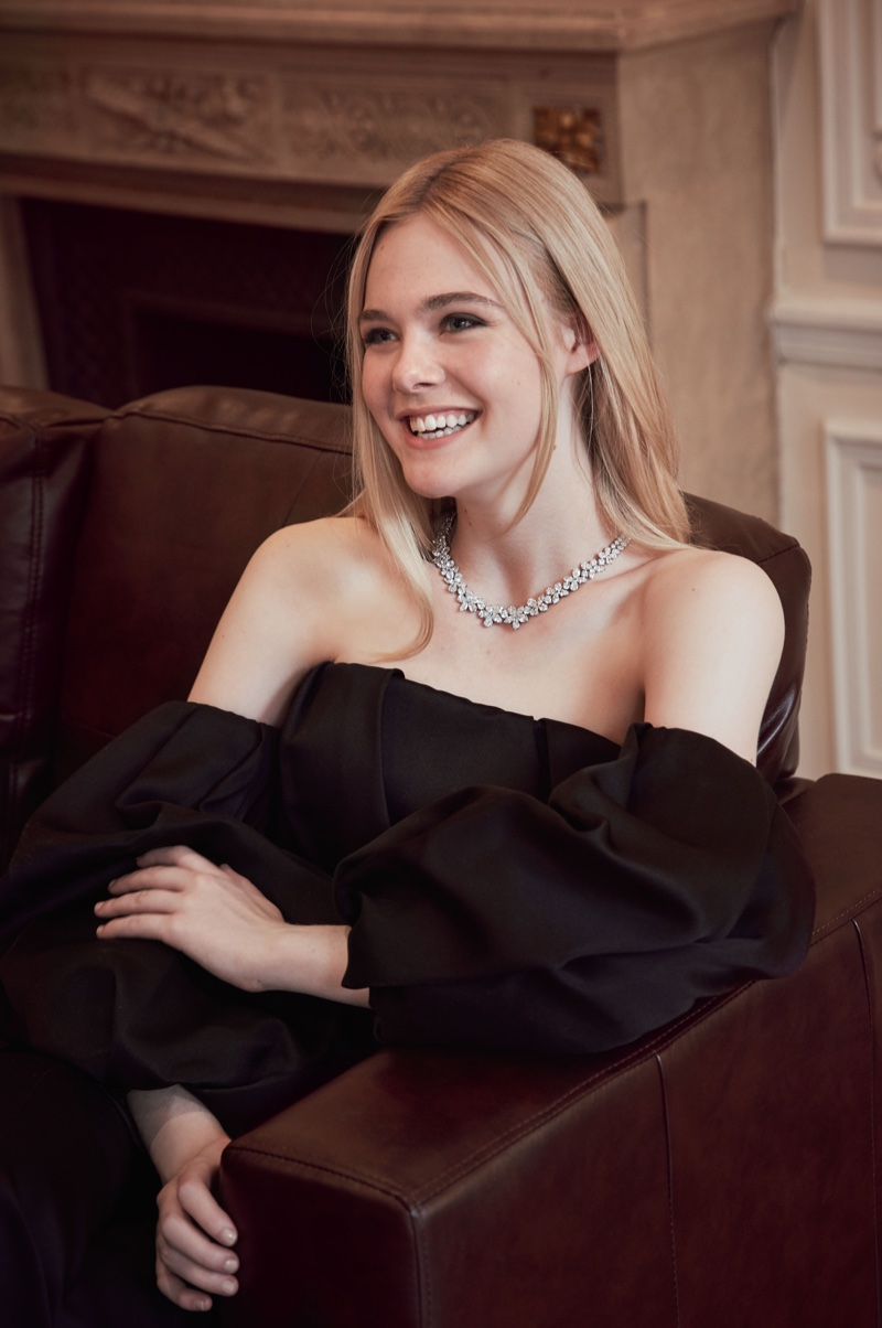 Actress Elle Fanning smiles behind the scenes at Tiffany & Co's holiday 2016 campaign