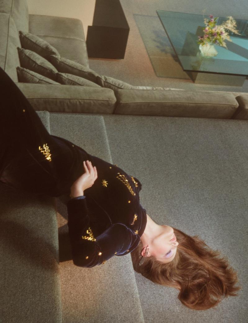 Emily DiDonato wears velvet Prada dress with gold embroidery