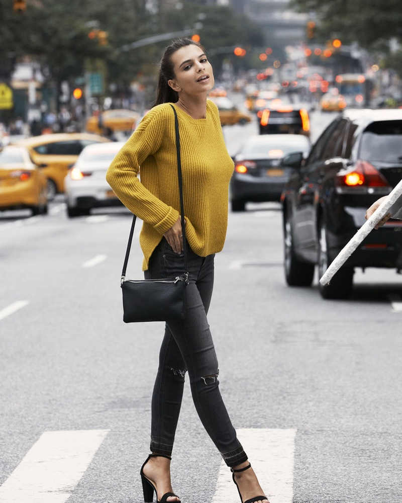 Express Crew Neck Shaker Knit Sweater in Citrine