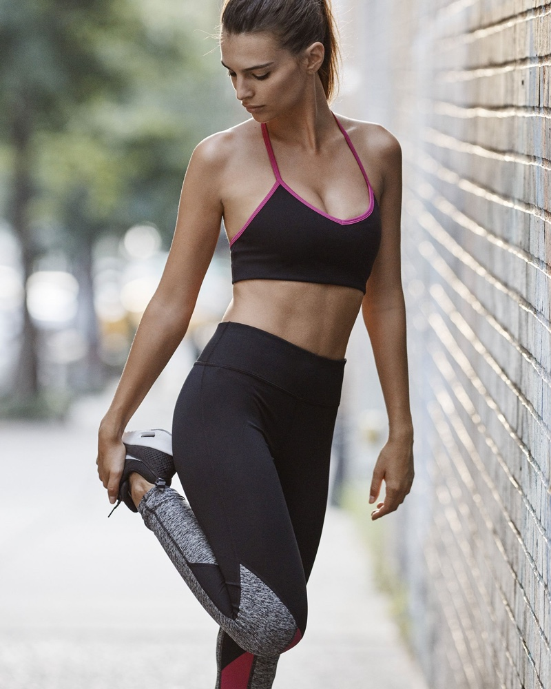 EXP Core Strappy Back Sports Bra and Core Marled and Berry Stripe Legging