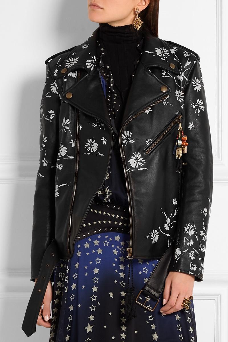 Etro Embellished Printed Leather Biker Jacket