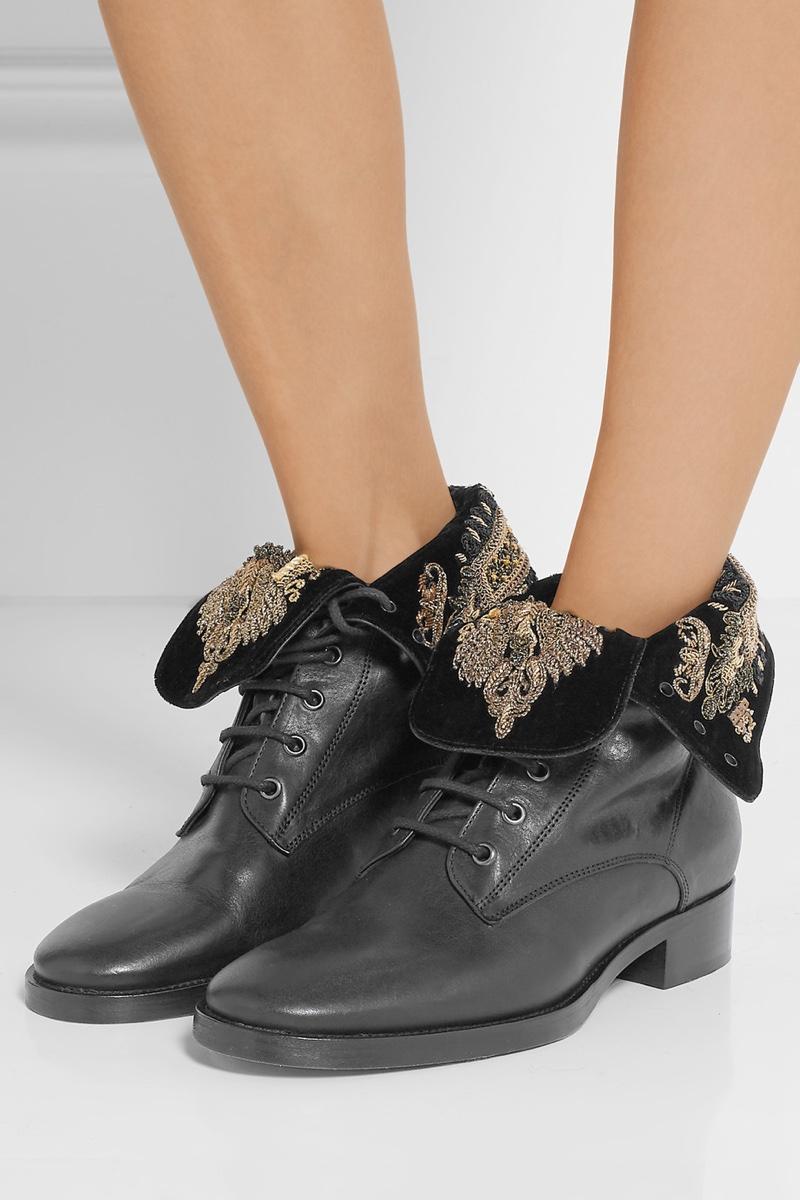 Etro Embellished Velvet Leather Ankle Boots