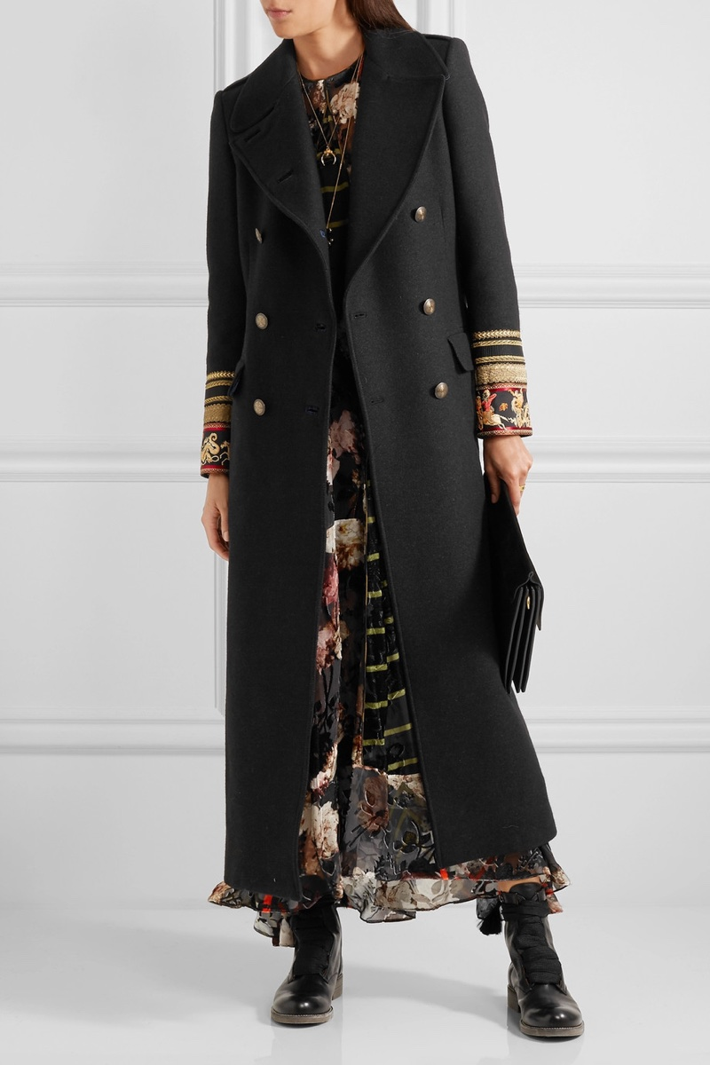 Etro Embroidered Double Breasted Wool Blend Twill Coat
