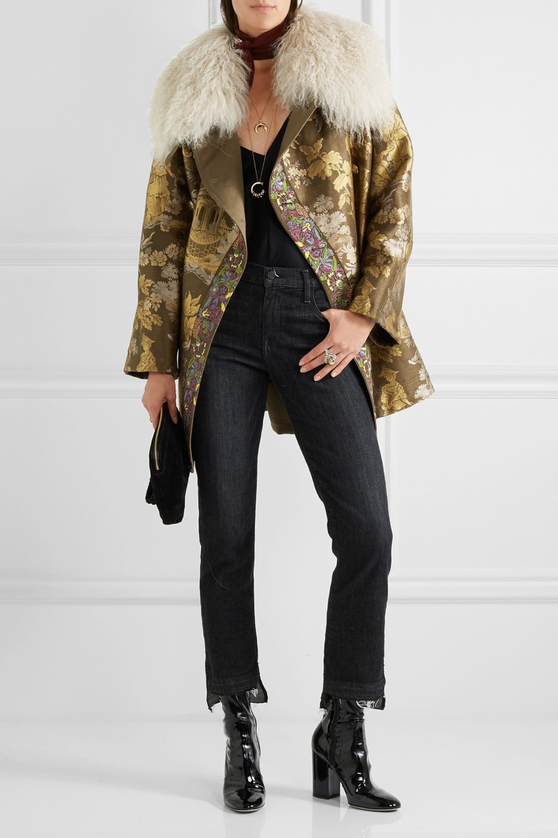 Etro Reversible Embroidered Shearling Trimmed Brocade Jacket