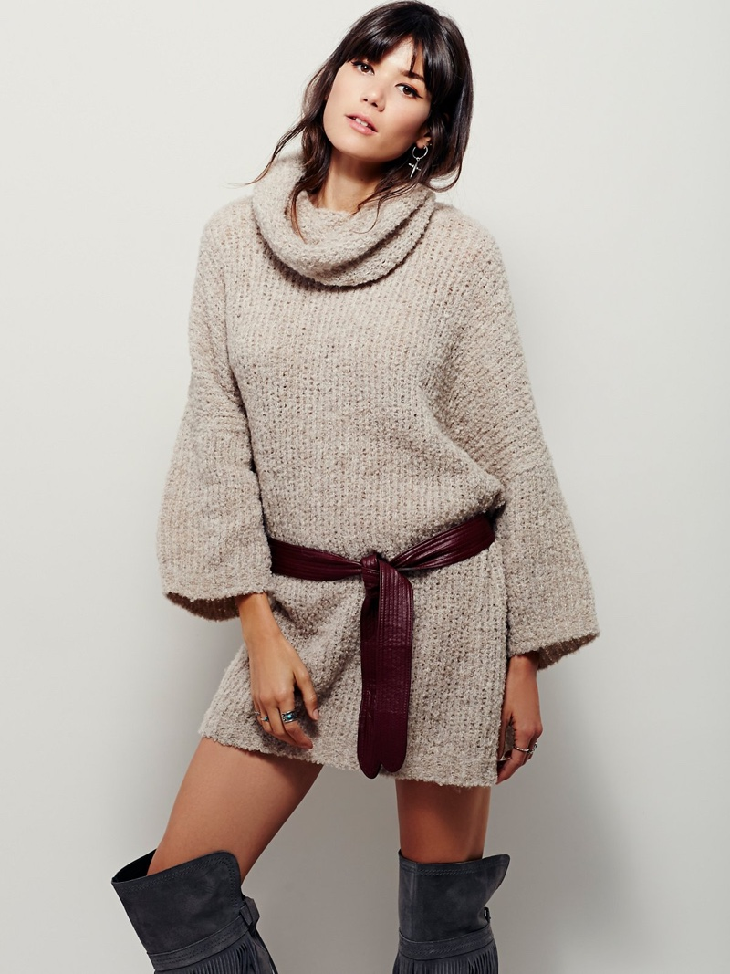Free People Extreme Cowl Neck Sweater Dress