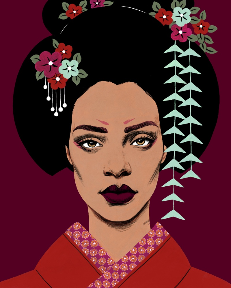 Illustrator Bijou Karman draws Rihanna for Stance Socks campaign