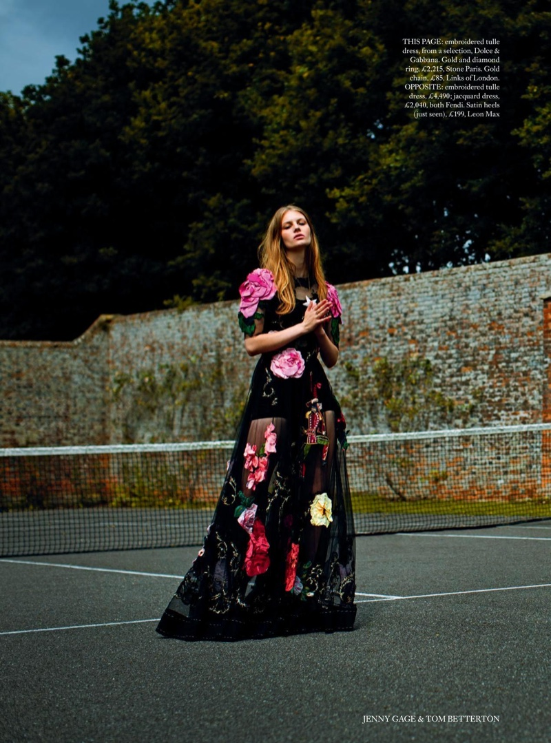 Florence Kosky wears a Dolce & Gabbana embroidered tulle dress