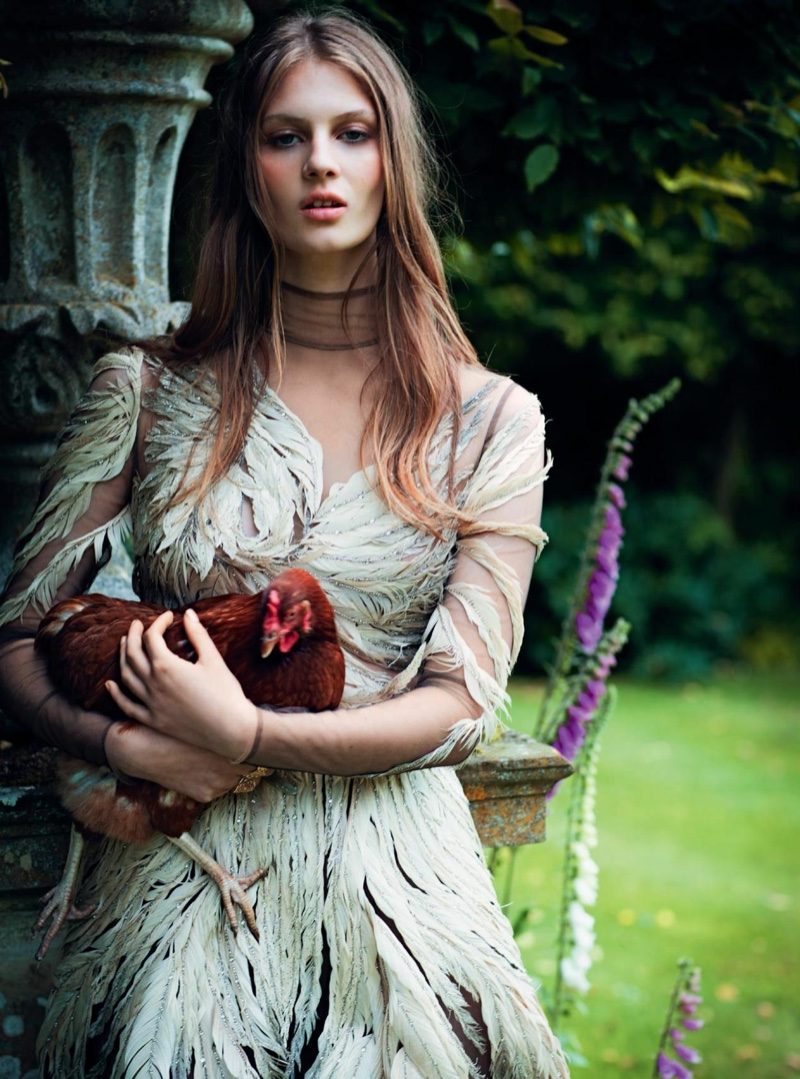Florence models silk and feather dress from Valentino