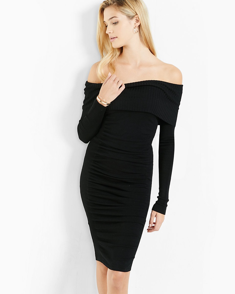 Express Fold-Over Ruched Midi Sweater Dress
