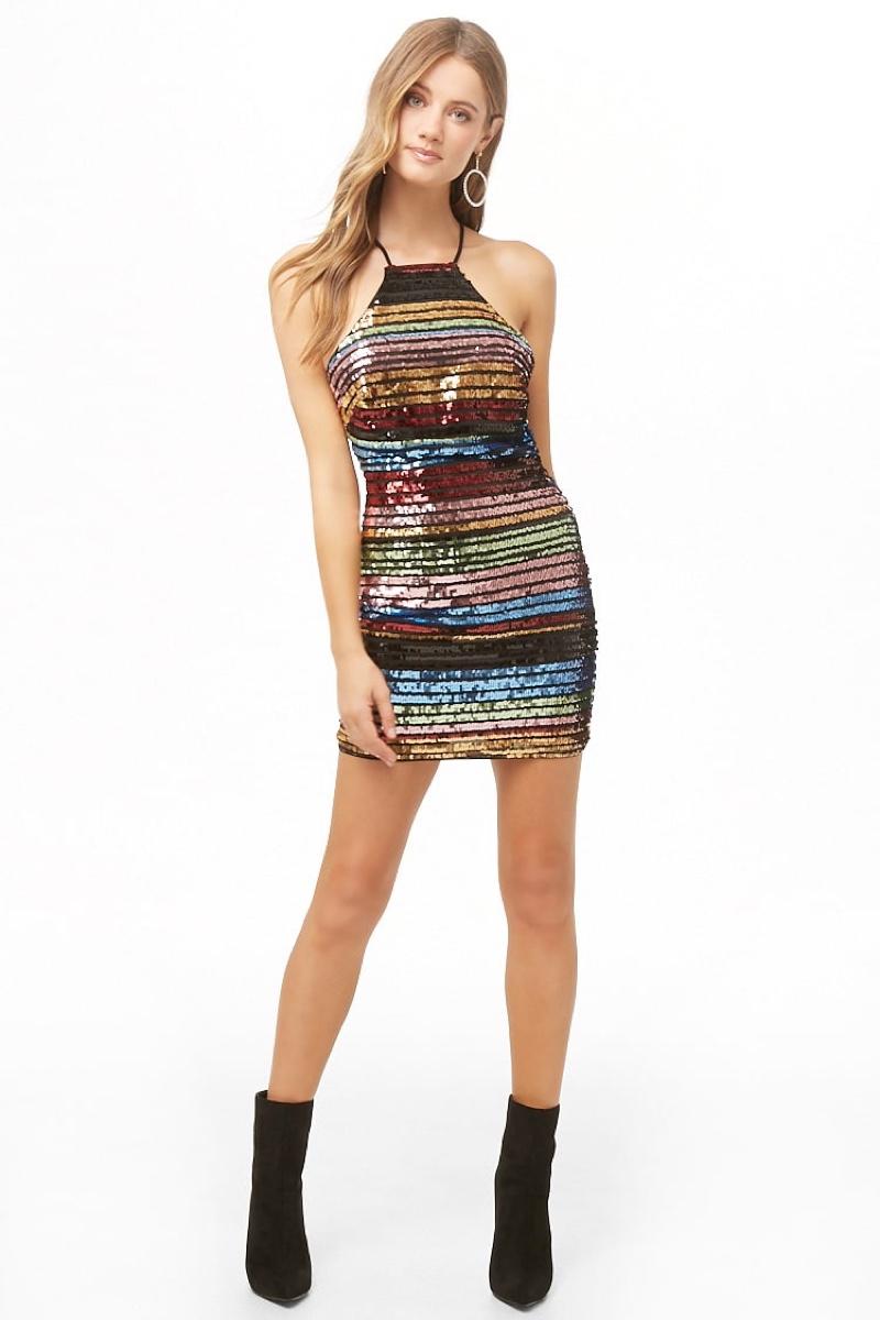 Forever 21 Rainbow Sequin Halter Dress $48