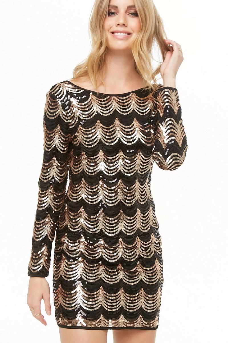 Forever 21 Scalloped Sequin Overlay Dress $45