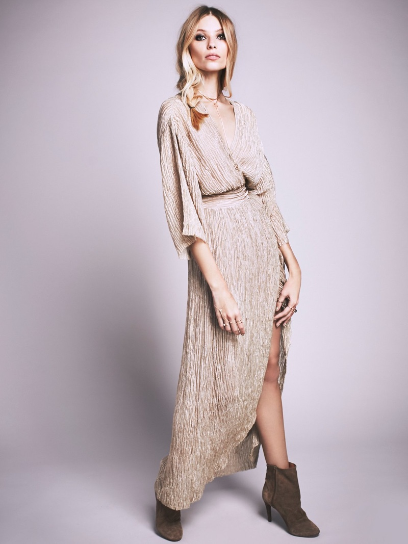 Wrap silk maxi dress
