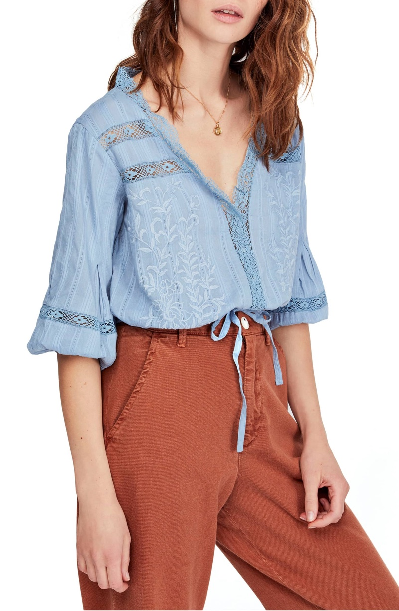 Free People Follow Your Heart Top in Blue $68