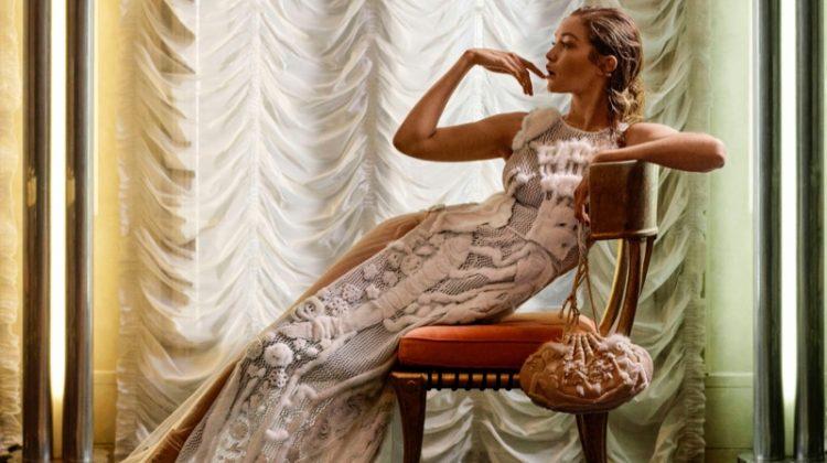 Gigi Hadid Serves Pure Elegance in Fendi Haute Couture for Harper's Bazaar