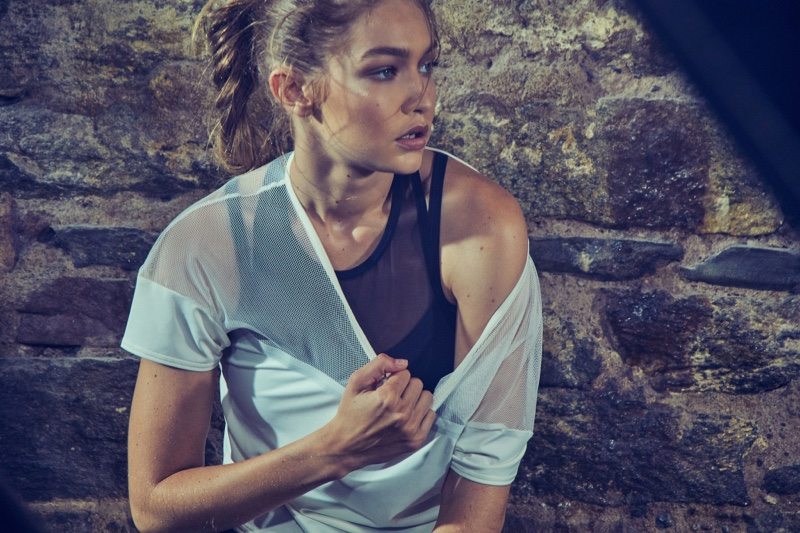 Gigi Hadid poses in Reebok sports styles for #PerfectNever campaign