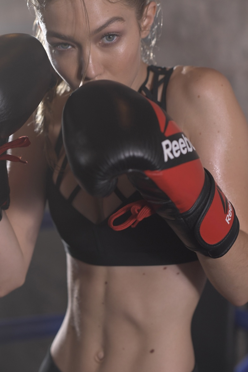 Gigi Hadid puts on boxing gloves in Reebok #PerfectNever campaign
