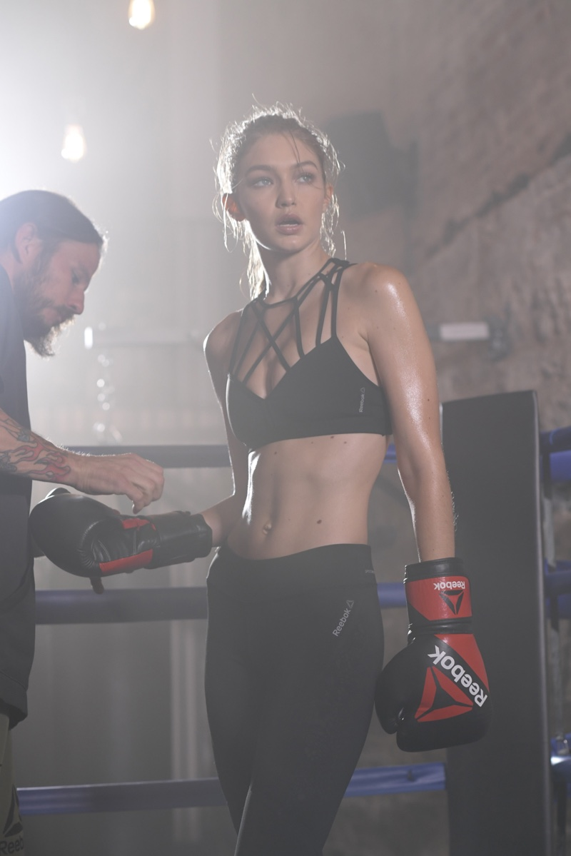 Gigi Hadid shows off her toned body behind the scenes at Reebok campaign