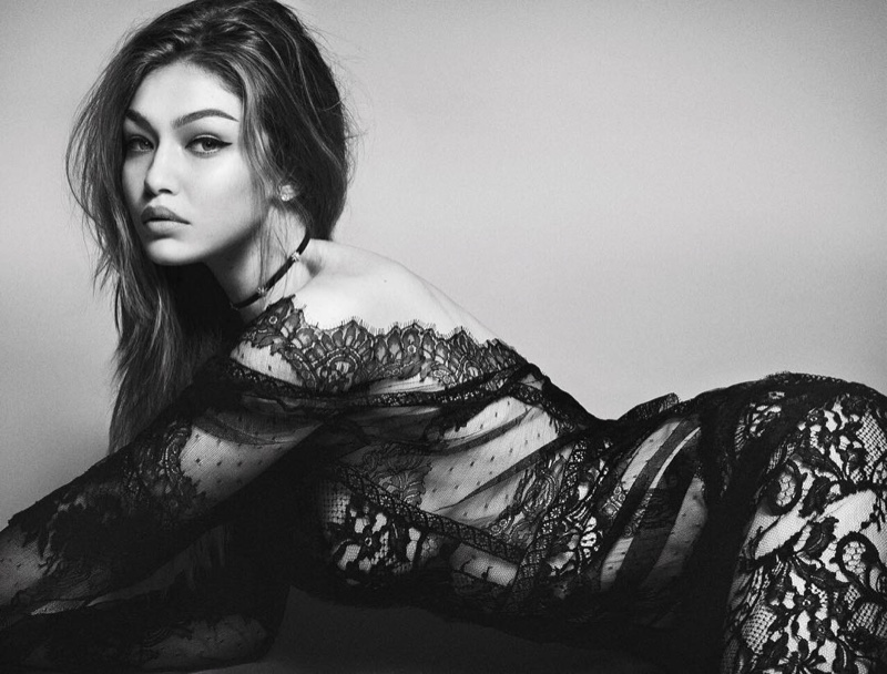Gigi Hadid poses in lingerie inspired looks for the fashion editorial