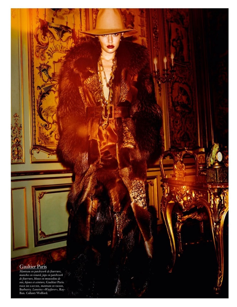 Clad in fur, Gigi Hadid models a look from Jean Paul Gaultier Haute Couture