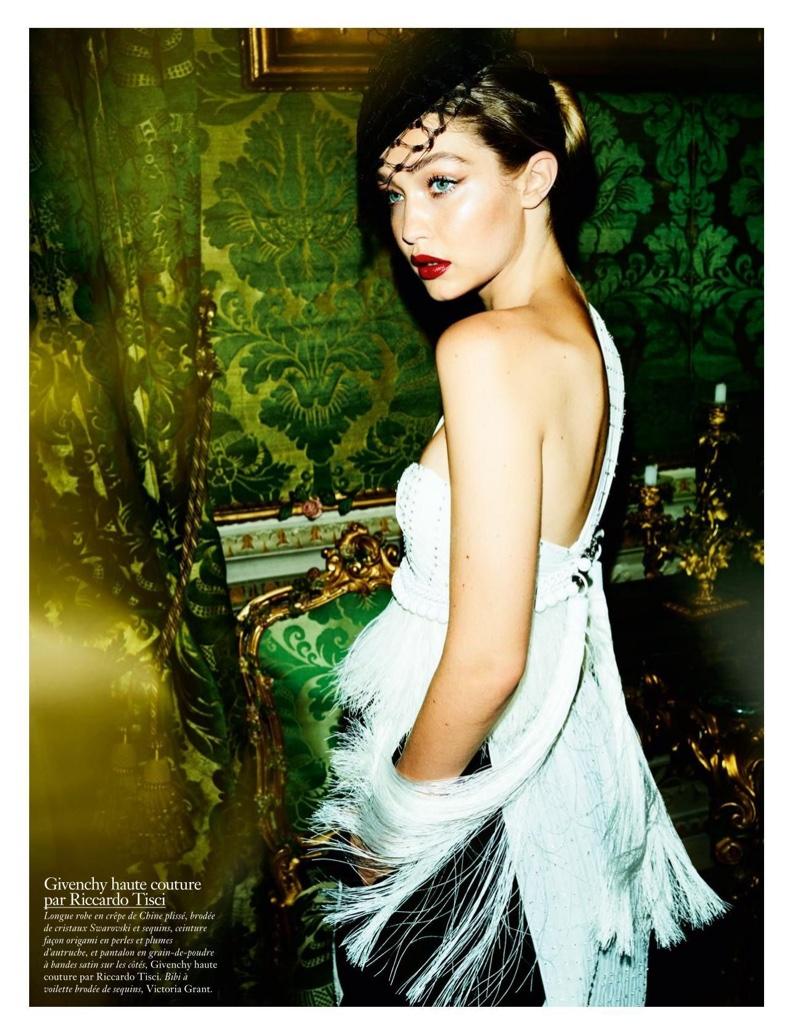 Gigi Hadid looks glamorous in fringe wearing Givenchy Haute Couture by Riccardo Tisci