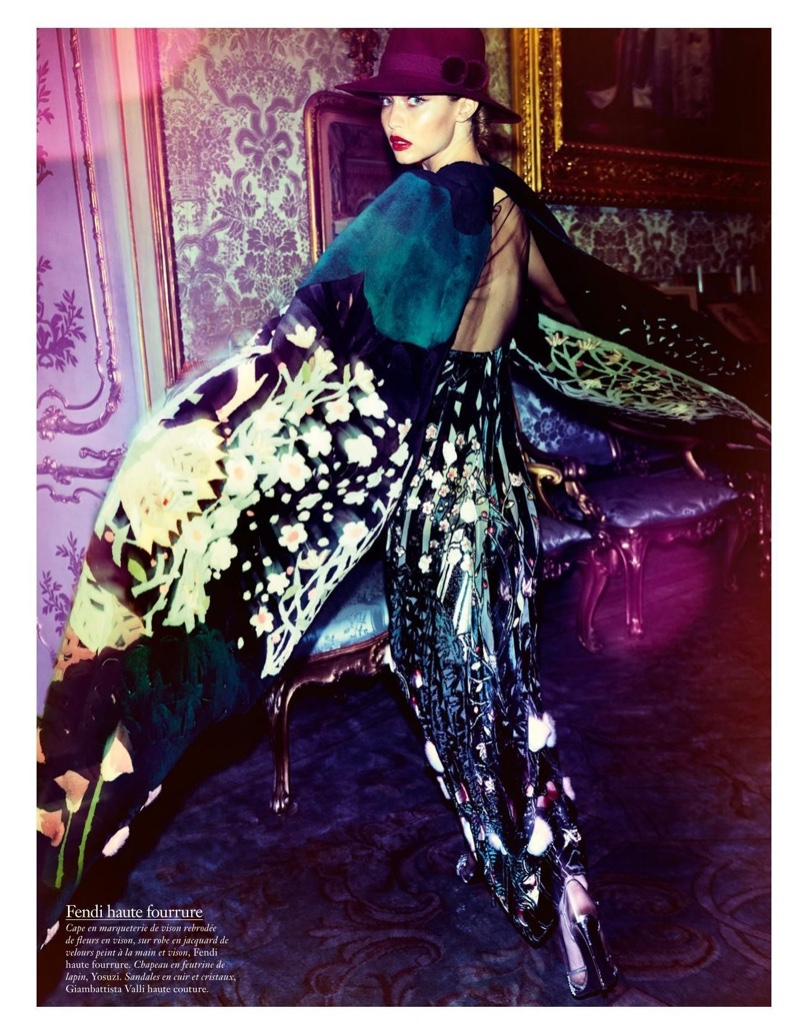 Striking a pose, Gigi Hadid models Fendi Haute Fourrure look