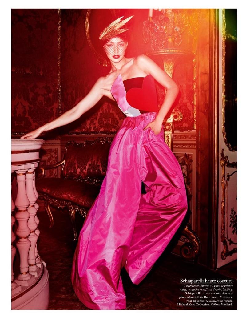 Gigi Hadid has a big heart in Schiaparelli Haute Couture ensemble