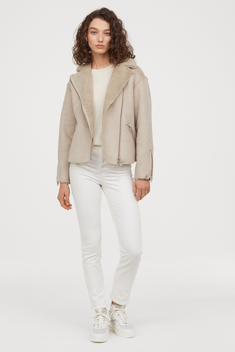 H&M Biker Jacket with Faux Shearling in Light Taupe $49.99