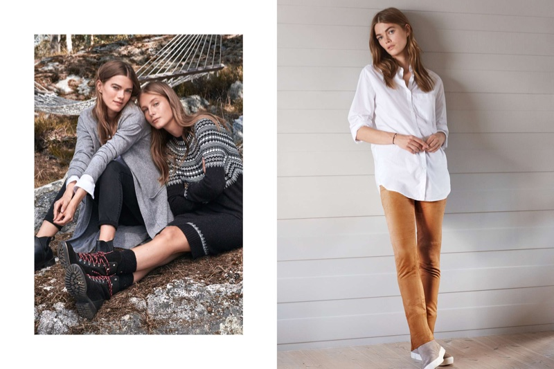 (Left) H&M Long Cashmere-blend Cardigan, Skinny Regular Jeans and Warm-lined Chelsea Boots (Middle) H&M Knit Dress and Suede Boots (Right) H&M Cotton Shirt and Pile-lined Suede Sneakers