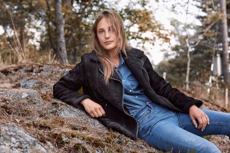 H&M Pile-lined Suede Jacket, Denim Shirt and Skinny Regular Trashed Jeans
