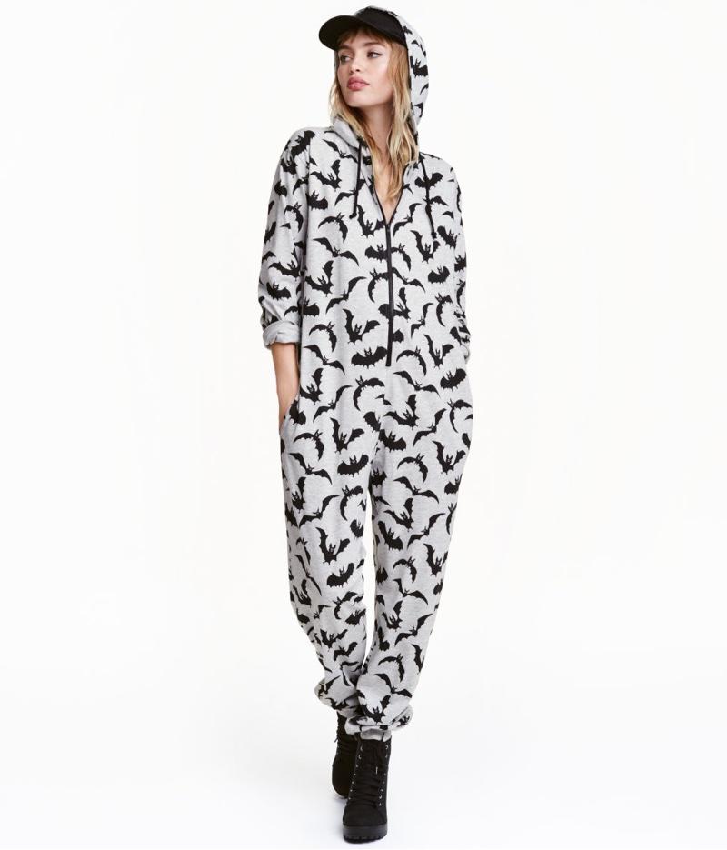 H&M Jersey Jumpsuit with Bat Print