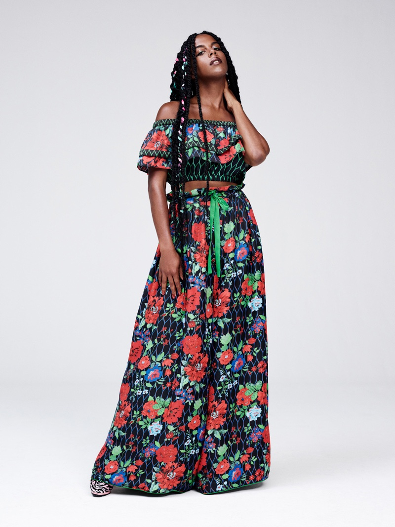 Kenzo x H&M Lookbook: Printed crop top and maxi skirt