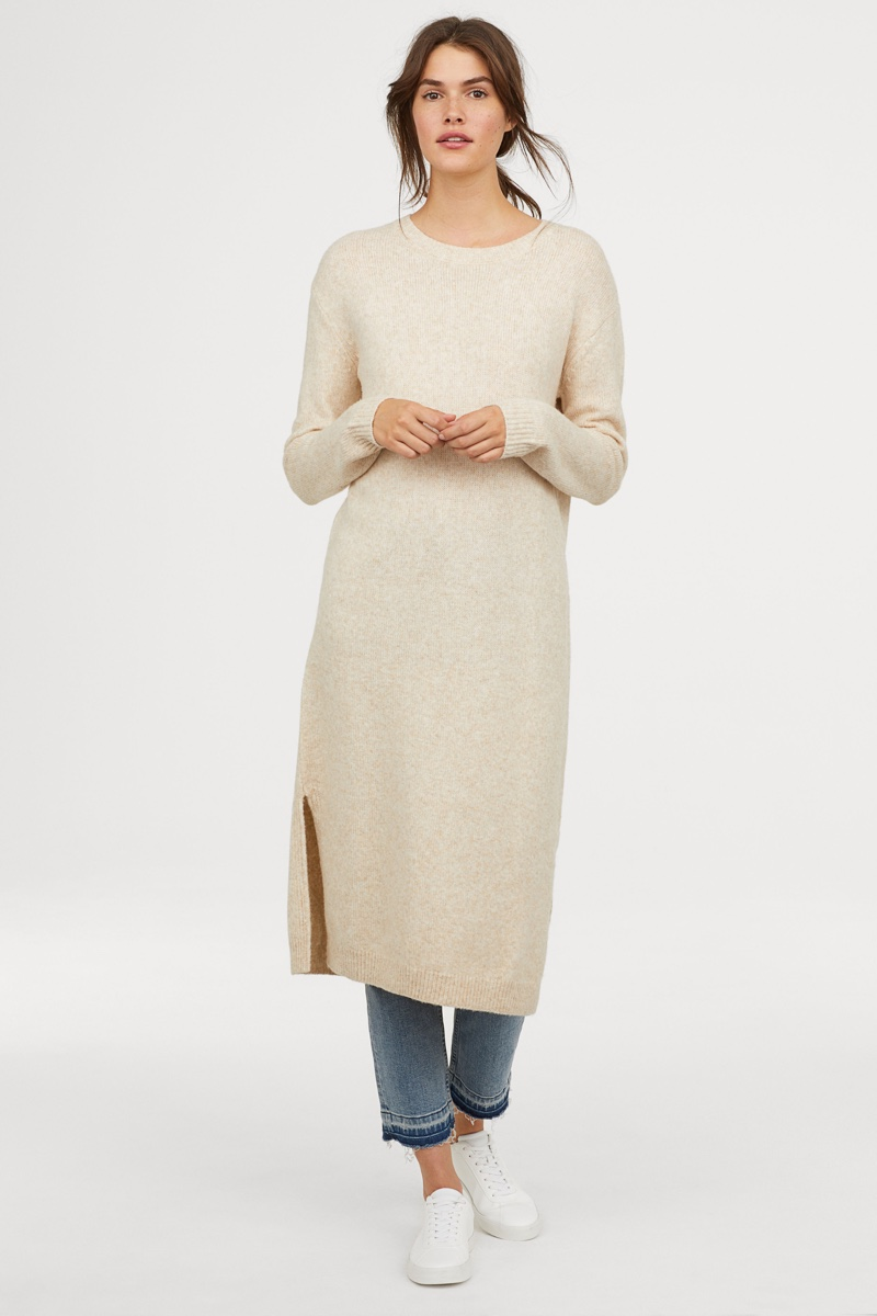 H&M Knit Dress in Light Beige Melange $39.99