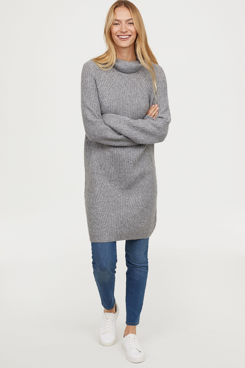 H&M Knit Turtleneck Dress in Grey Melange $49.99