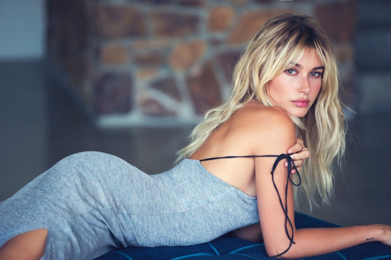 Hailey Baldwin is a Blonde Bombshell in Guess' Holiday Campaign