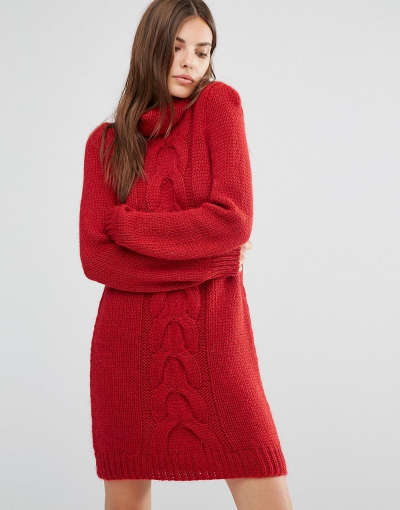 Oneon Hand Knitted Sweater Dress with Cable Detail