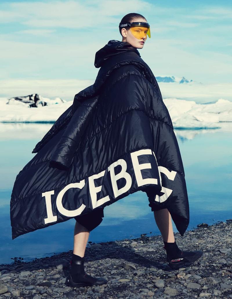 Kirsi Pyrhonen models Iceberg coat with J.W. Anderson trousers