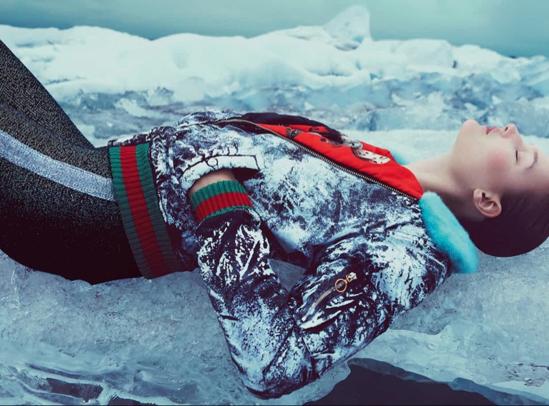 Model Kirsi Pyrhonen lounges in a Gucci jacket