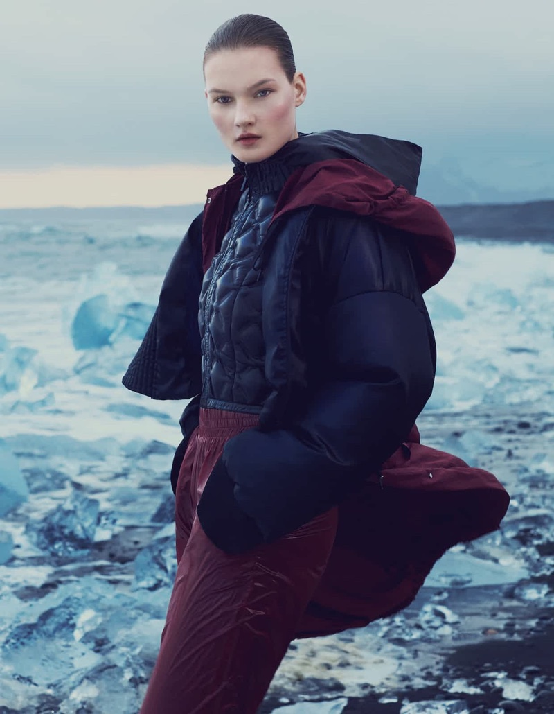 Keeping it cozy, Kirsi Pyrhonen wears DKNY nylon jacket, coat and trousers with Chanel jacket