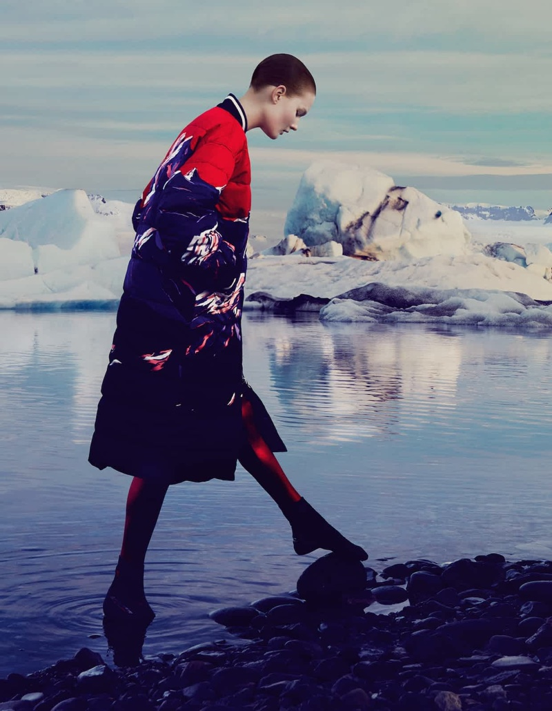 Taking a walk, the model wears Emilio Pucci mixed-down coat and O'Neill Heat boots