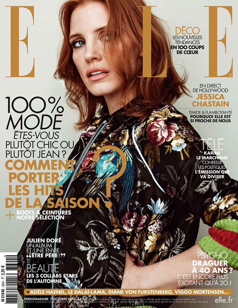 Jessica Chastain on ELLE France October 7, 2016 Cover