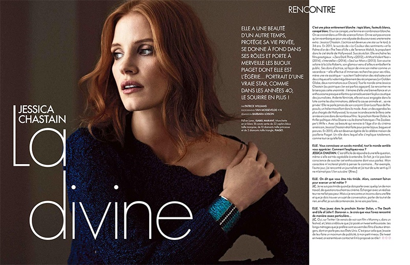 Jessica Chastain poses in Isabel Marant pullover sweater