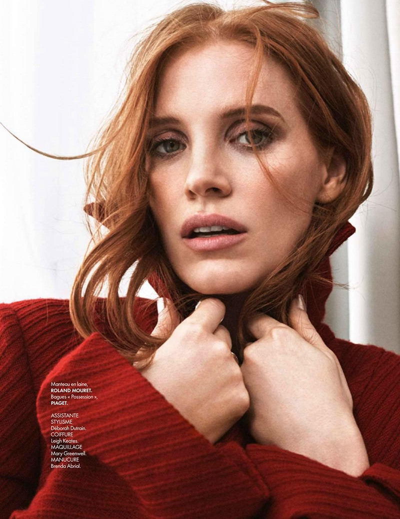 Jessica Chastain covers up in Roland Mouret red wool coat