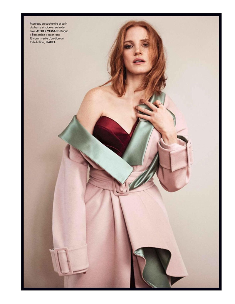 Jessica Chastain poses in Atelier Versace jacket and dress with Piaget jewelry