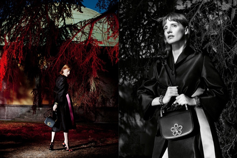 Photographed by Willy Vanderperre, Jessica Chastain stars in Prada's resort 2017 campaign