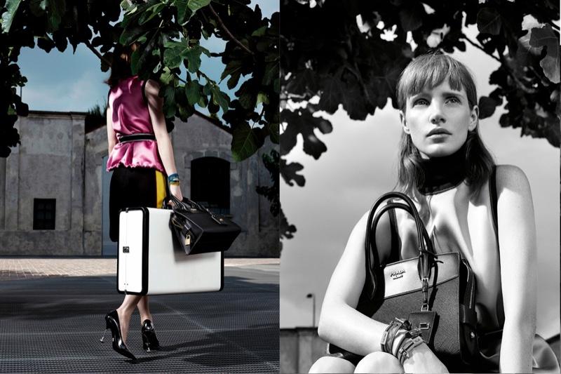 Posing in Milan, Jessica Chastain appears in Prada's resort 2017 advertising campaign