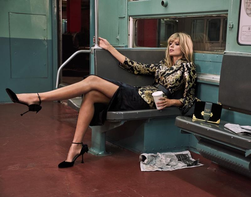 Julia Stegner flaunts some leg in a Roberto Cavalli jacket, Jason Wu Skirt and Miu Miu  heels